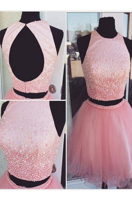 Pink Beading Tulle Short Prom Dresses,Homecoming Dresses,Open Back Two Pieces Homecoming Dress,Cocktail Dresses PD20187588