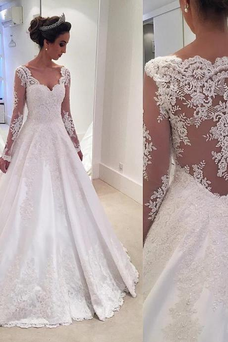 Wedding Dresses, Wedding Gown,lace long sleeves taffeta wedding dress princess 2018 vintage bridal gowns PD20187836