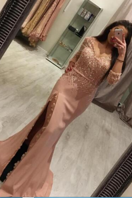 Long Sleeve Evening Dress, Sexy Evening Dress, Women Formal Dress, V Neck Evening Dress, Evening Dresses PD20189089